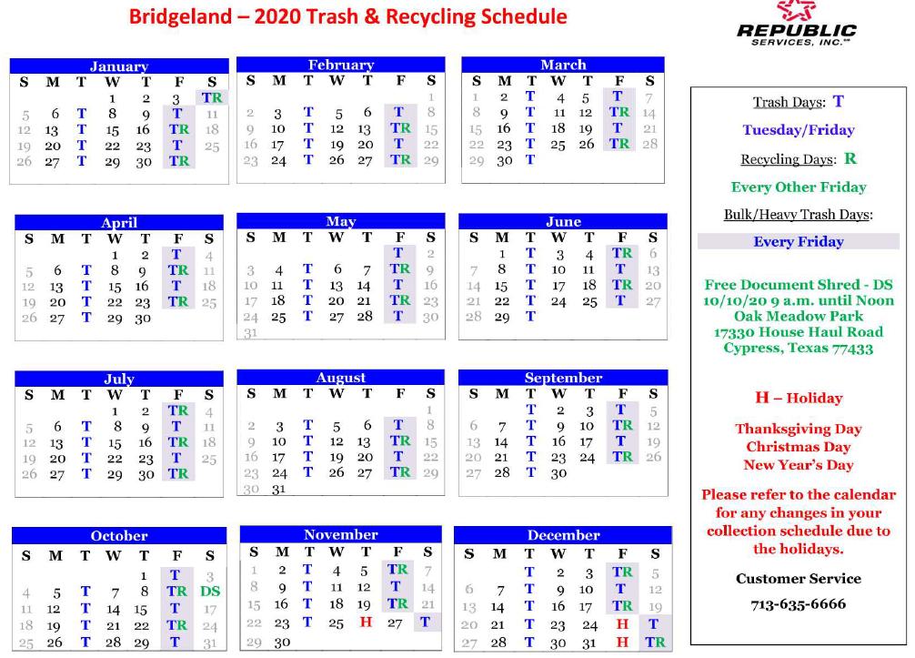 Republic Waste Pickup Christmas 2020 Trash – Harris County Municipal Utility District No. 419